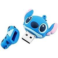 Escoo DataTraveler, chiavetta USB da 16GB, USB 2.0,ad alta velocità, in silicone, con il simpatico personaggio dei cartoni animati Stitch, colore blu, blau, 16 GB