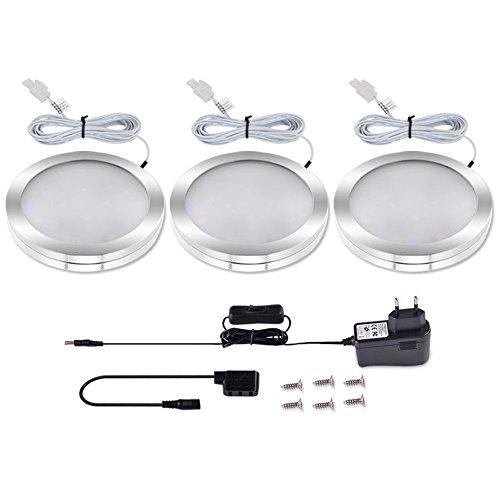 LEDGLE Lot de 3 Éclairage Sous Meuble Cuisine 6W Spot LED Lampe de Cabinet 550lm Éclairage encastré 6000K-Lumière Blanche