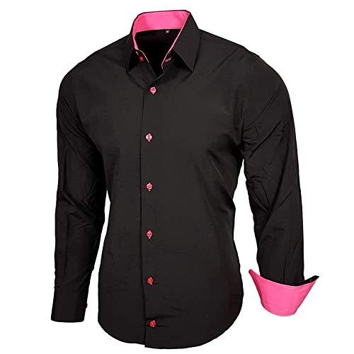 Baxboy Herren-Hemd Slim-Fit Bügelleicht Für Anzug, Business, Hochzeit, Freizeit - Langarm Hemden für Männer Langarmhemd R-44, Farbe:Schwarz/Pink;Größe:XL