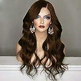 serliy Lange synthetische Spitzeperücke Lange wellenförmige Perücken Körperwelle Frauen Hitzebeständige Haare (braun)