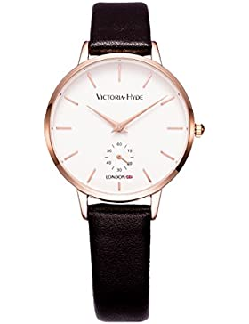 VICTORIA HYDE Damen Armbanduhr Classic Quarz Uhren Rosegold aus Lederband Schwarz Frauen Wasserdicht Uhr Marken