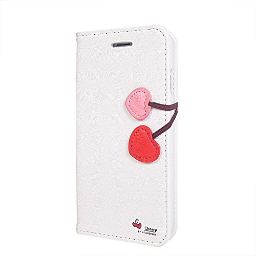 iPhone 6 Coque,COOLKE [Pink] Flip Case PU Etui Housse Coque Cover pour Apple iPhone 6 (4.7 inch) Blanc