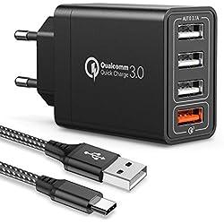 JOOMFEEN Quick Charge 3.0 Chargeur Secteur USB et Câble USB C,QC 3.0 30W/6A 4 Ports Chargeur Mural Rapide Adaptateur Secteur USB Multiple Universel pour Samsung Galaxy S10/S9/S8 Plus/Note 8,Huawei