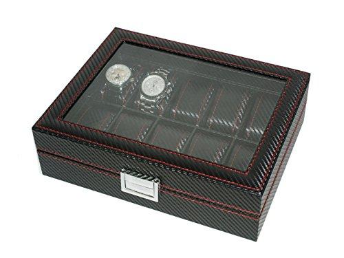 Présentoir à montres en fibre de carbone avec vitrine, pour 12montres