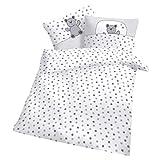 CMF Baby Kinder Bettwäsche Sterne und Bär Weiß 100x135 cm - Renforcè