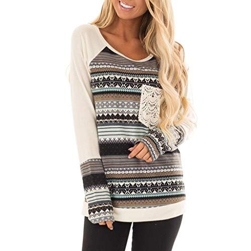 WWricotta Fashion Women O-Neck Long Sleeve Stripe Splicing Lace Pocket Top Easy Blouse(Blau,S)