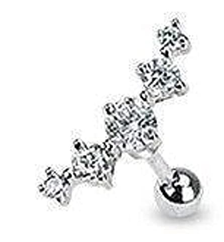 Clear Curved Five Crystal Tragus / Cartilage Earring Upper Ear Bar
