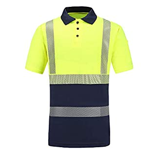 AYKRM Hi Viz Vis High Visibility Polo Shirt Reflective Tape Safety Security Work Button T-Shirt Breathable Lightweight Double Tape Workwear Top (XL, Yellow)