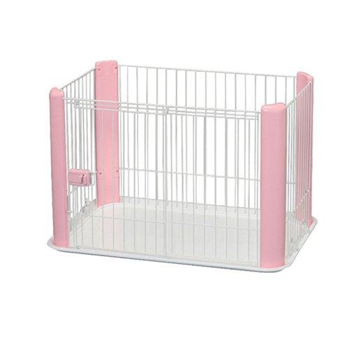 , Welpenauslauf / Freigehege / Laufstall / Welpengitter CLS-960, ohne Dach, Kunststoff, weiß / rosa, 92 x 63 x 60 cm
