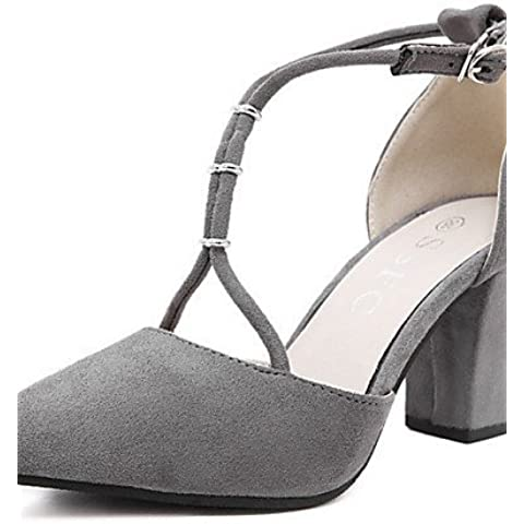 LFNLYX Scarpe Donna-Sandali-Tempo libero / Casual-Tacchi / A punta-Quadrato-Felpato-Nero / Grigio , black , us7.5 / eu38 / uk5.5 / cn38