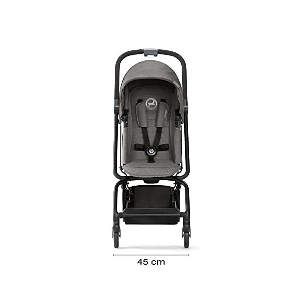 CYBEX Gold Eezy S Twist Compact Pushchair, 360° Rotatable Seat Unit, Ultra-Compact, From Birth to 17 kg (approx. 4 years), Denim Blue Cybex Sturdy, High-quality Compact Pushchair for newborns up to approx. 17 kg (approx. 4 years) with unique rotatable seat unit - Including rain cover for optimum use in all weather conditions Quick and easy change of direction with 360° rotatable seat unit, Comfortable sitting position thanks to stepless adjustable reclining backrest with lie-flat position, Puncture proof tyres and all-terrain wheel suspension Simple folding with one-hand folding mechanism for compact travel size (LxWxH: 26 x 45 x 56 cm), Extremely manoeuvrable due to narrow wheelbase, Can also be used as 3-in-1 travel system with separately available CYBEX and gb infant carriers and the baby cocoon S (sold separately) 8