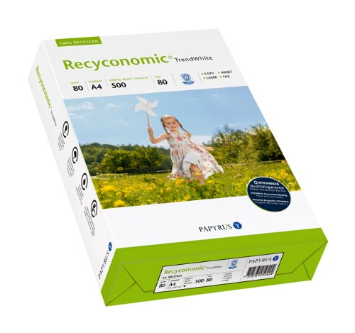 Papyrus 88031824 Recycling-Papier, Druckerpapier Recyconomic Trendwhite 80 g/m² DIN-A4 500 Blatt,  matt, CIE-Weiße: 85