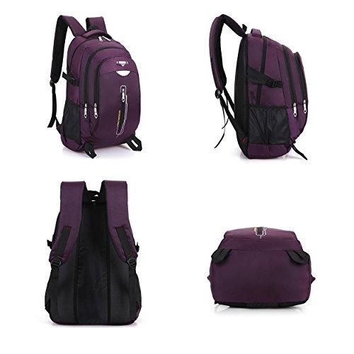 Multifunzione escursionismo zaino ricreazione Portable impermeabile durevole zaino arrampicata viaggio equitazione alpinismo borsa per gli uomini donne studente viola nero 52 x 36 x 18 cm , black Purple