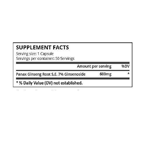 Pure Science Extracto de ginseng rojo de Panax 600 mg (7% de ginsenósido) - 50 cápsulas vegetarianas
