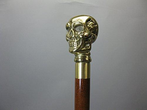 scomponibile bastone da passeggio bastone da passeggio bastone da passeggio in legno Ottone Skull capitano Stock 90cm M80Walking Stick vano segreto