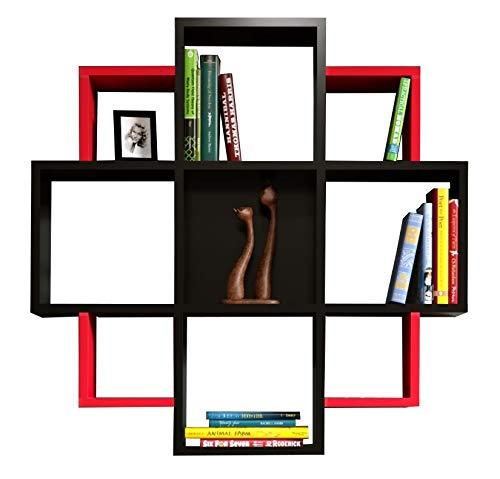 BLOOM Étagère murale - étagère à livres pour décoration de salon en bois dans un design moderne (Noir / Rouge)