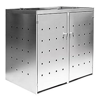 2er Mülltonnenbox Müllbox Mülltonnenverkleidung Edelstahl Schiebdach Abschließbar V2Aox