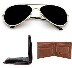 Combo Pack of Aviator Sunglasses, Money Wallet & Belt for Boys / Mens ( GoldenBlack-BrownWallet-LytBrownWallet ) ( CM-ASSE-011 )