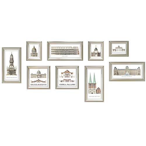 WENYAO Fotorahmen Wohnaccessoires Große Rahmengröße Rahmenwand Geeignet für Sofa/Esszimmer/Treppe 9 Stück (Farbe: Braun) - 9 Stück Esszimmer
