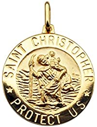 "Solid 9ct Yellow Gold 15mm 3D Round St Christopher Medal Pendant With Optional 1.3mm Wide Diamond Cut Curb Chain In Gift Box (available in 16"" to 24"")"