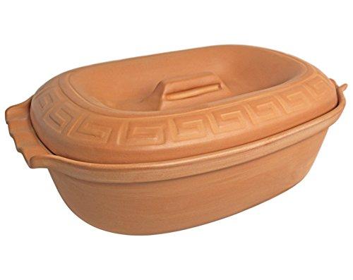 K&K Bräter 5,0 Liter unglasiert mit Griff 41x27x13 cm aus hochwertiger natürlicher Steingut-Keramik