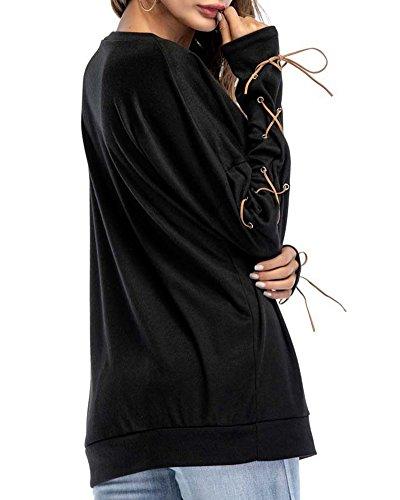 Anyu Donna Benda-Maniche-Lunghe Pullover Tasca Camicia Girocollo T-Shirt Tops Nero