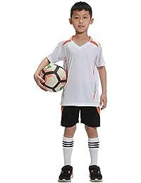 ZEVONDA Moda Adultos y Niños Juego de Entrenamiento de Fútbolde Secado Rápido de Manga Corta Kit
