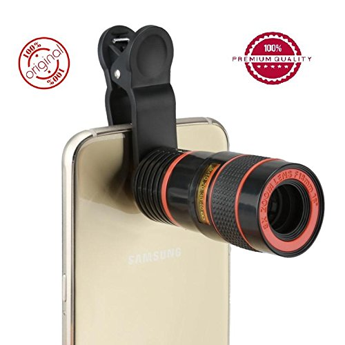 Easypro™ Motorola Moto Z Play Compatible Universal 8X Zoom Mobile Phone Telescope Lens with Adjustable Clip Mobile Phone Lens with Adjustable Clip Holder