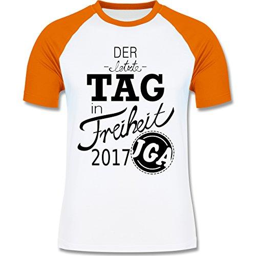 JGA Junggesellenabschied - Der letzte Tag in Freiheit 2017 - zweifarbiges Baseballshirt für Männer Weiß/Orange