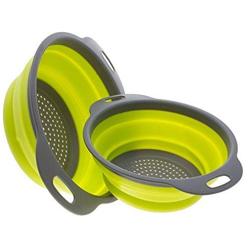 Swify 2 Stück Silikon Sieb Faltbarer Seiher (Grün + Grau)
