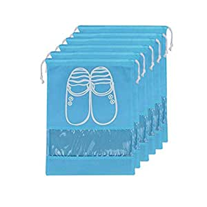 Lify Portable Travel Shoe Bags Saving Storage Bags (Aqua Blue) -Pack of 6