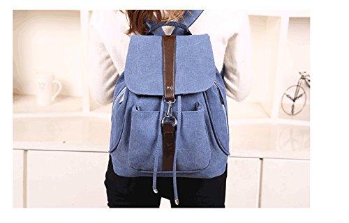 Minetom Damen Schulrucksack Dame Stil Einfarbig Schulranzen Schultasche Rucksack Freizeitrucksack Daypacks Backpack Blau