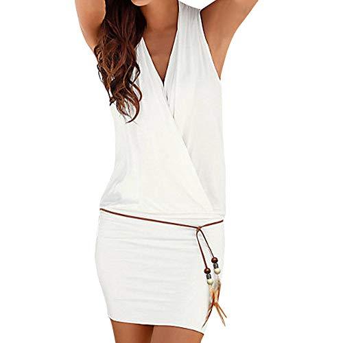 Ausschnitt Cocktail (Fannyfuny Frauen V-Ausschnitt Spaghetti-Armband Schulterfrei Bodycon Sexy Mini Kleider Elegant Cocktail Kleider Party Kleider Casual Sommerkleider Strandkleider Ballkleid S-2XL)