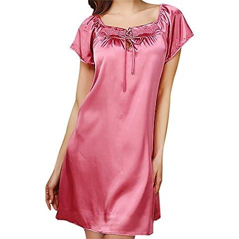 iBaste Women's Short Sleeve Sleepwear Sexy Square Neck Satin Nightgown