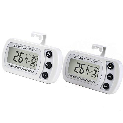 Kühlschrankthermometer, mit Haken, Anzeige mit MIN/MAX-. Speicherwerten, digitales Thermometer für Gefrierschrank Tiefkühltruhe Weinkühlschrank, wasserabweisend