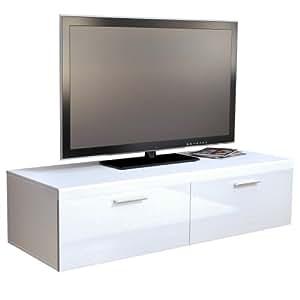 TV Board Lowboard Atlanta, Korpus in Weiß matt / Front in Weiß Hochglanz