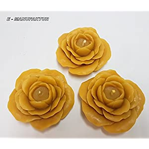 Bienenwachskerzen - Rose Kerze aus 100% Bienenwachs .