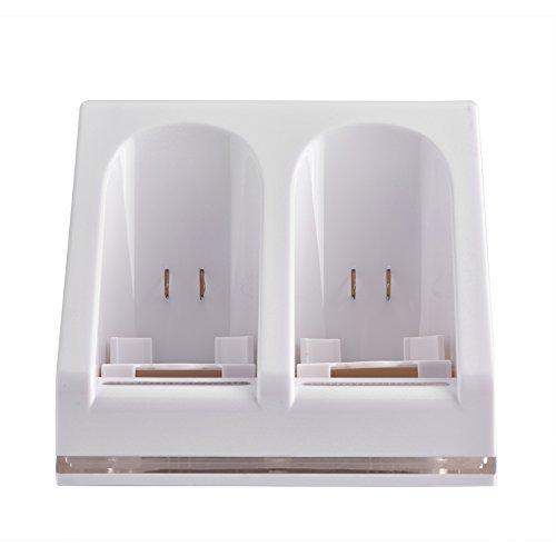 Eboxer Ladegerät für Zwei Ladestationen mit 2 wiederaufladbaren Batterien und LED-Licht für die Wii-Fernbedienung(weiß) - Die Wii-fernbedienung Ladegerät