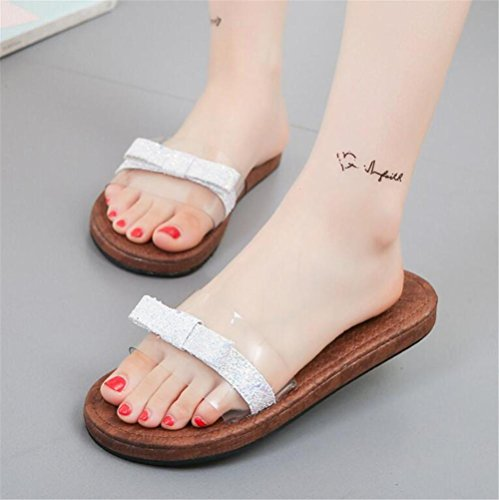 Mode Damen LDMB Metall Toe White Sandalen Peep Hausschuhe Sequins Casual wFPq1CF