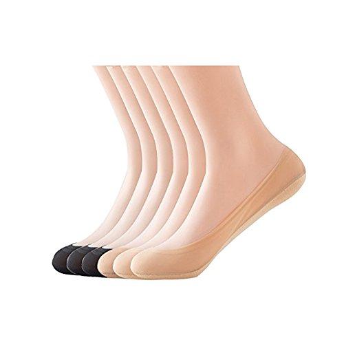 KEALLI Damen Füßlinge Unsichtbare Sneakers Baumwolle Nylon Socken mit Rutschfest...