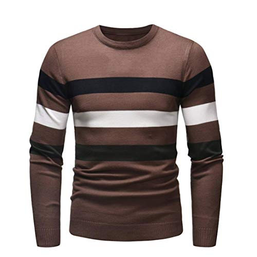Cebbay Pull Sweat Mode Homme Sweat Personnalité Pullover Sweat-Shirt Slim Col Rond Jumper Pull en Maille Chaud Autumn Winter Outwear Blouse Nouveau(Café,XL)