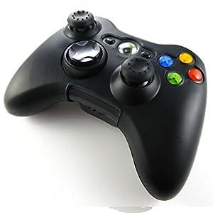 Pandaren® Silikon hülle skin für Xbox 360 controller (schwarz) x 1 + thumb grip aufsätze x 2