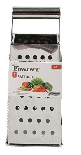 Vetrineinrete® grattugia per formaggio in acciaio 4 lati vari fori per scaglie grattaformaggio per verdure da cucina ristorante m29