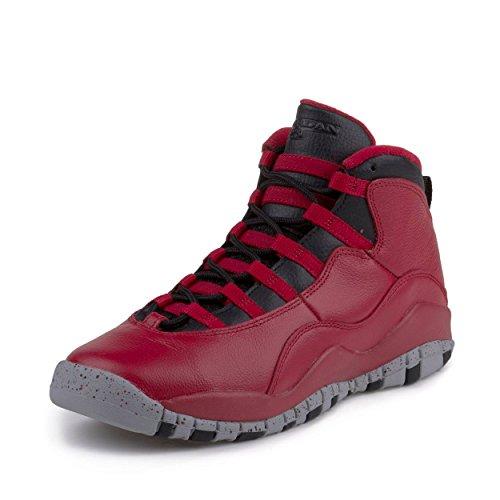 NIKE705179-601 - Air Jordan 10, Retro, BG, 30-jähriges Jubiläum, Bulls Over Broadway Unisex-Kinder Jungen, Rot (Gym Red-Black-Wolf Grey), 19 EU M
