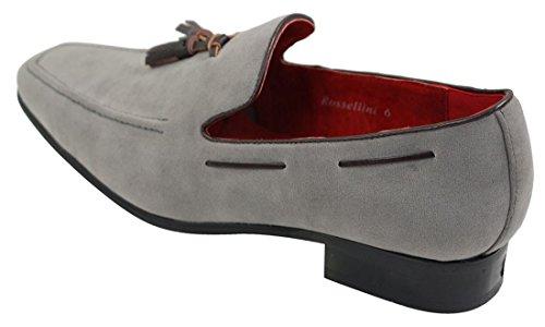 Herren Suede Fahrschuhe Design Leder Slip On Smart lässig Grau