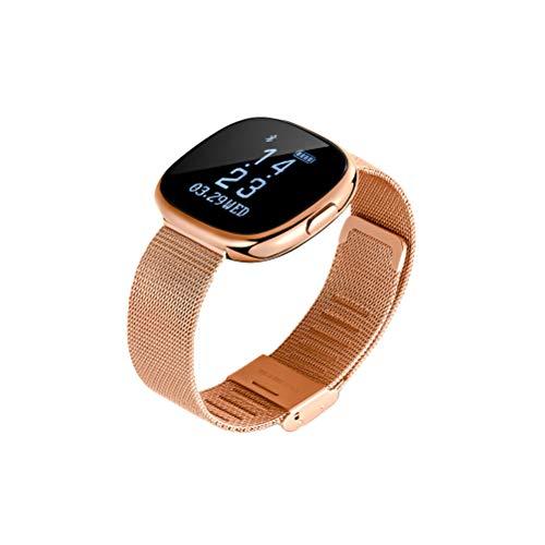 Hemobllo bracciale intelligente con gps impermeabile contapassi orologio cardiofrequenzimetro per donna e uomo sport (oro)