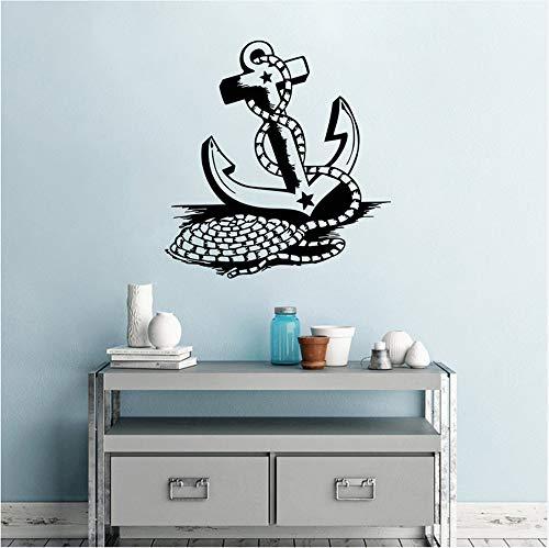 Waofe Boot Anker Wandtattoos Meer Ozean Boot Anker Wandaufkleber Home Decor Nautischen Thema Abnehmbare Vinyl Anker Wand Poster 42X44Cm