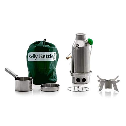 'Trekker' Stainless Steel Kelly Kettle® - BASIC KIT (0.6ltr Kettle + Steel Cook Set + Steel pot support) NEW MODEL - All Welded Construction. No Rivets. Camping Kettle and Camp Stove in one. Ultra fast lightweight wood fuelled stove. No Batteries, No Gas, No Fuel costs! For trekking, hiking, backpacking kits. Weight 0.98kg / 2.15lb