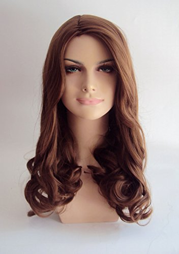 Deluxe Kate Middleton Long Natural Brown Curly High Fashion Celebrity Wig