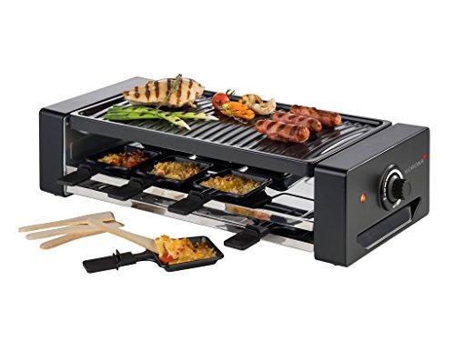 Korona 45070 Raclette Grill für 8 Personen I Tischgrill mit 8 Pfännchen und 8 Spatel I Einfache Reinigung Dank Abnehmbarer Grillplatte, schwarz